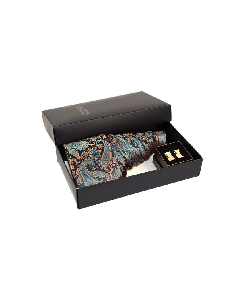 Prezent dla Niego- zestaw krawat i złote spinki