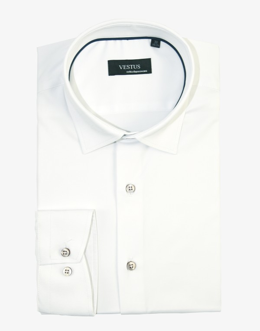 Biała koszula męska z brązowymi guzikami KT4081