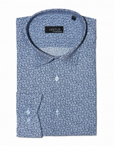Koszula niebieska w drobne kwiatki KT4079