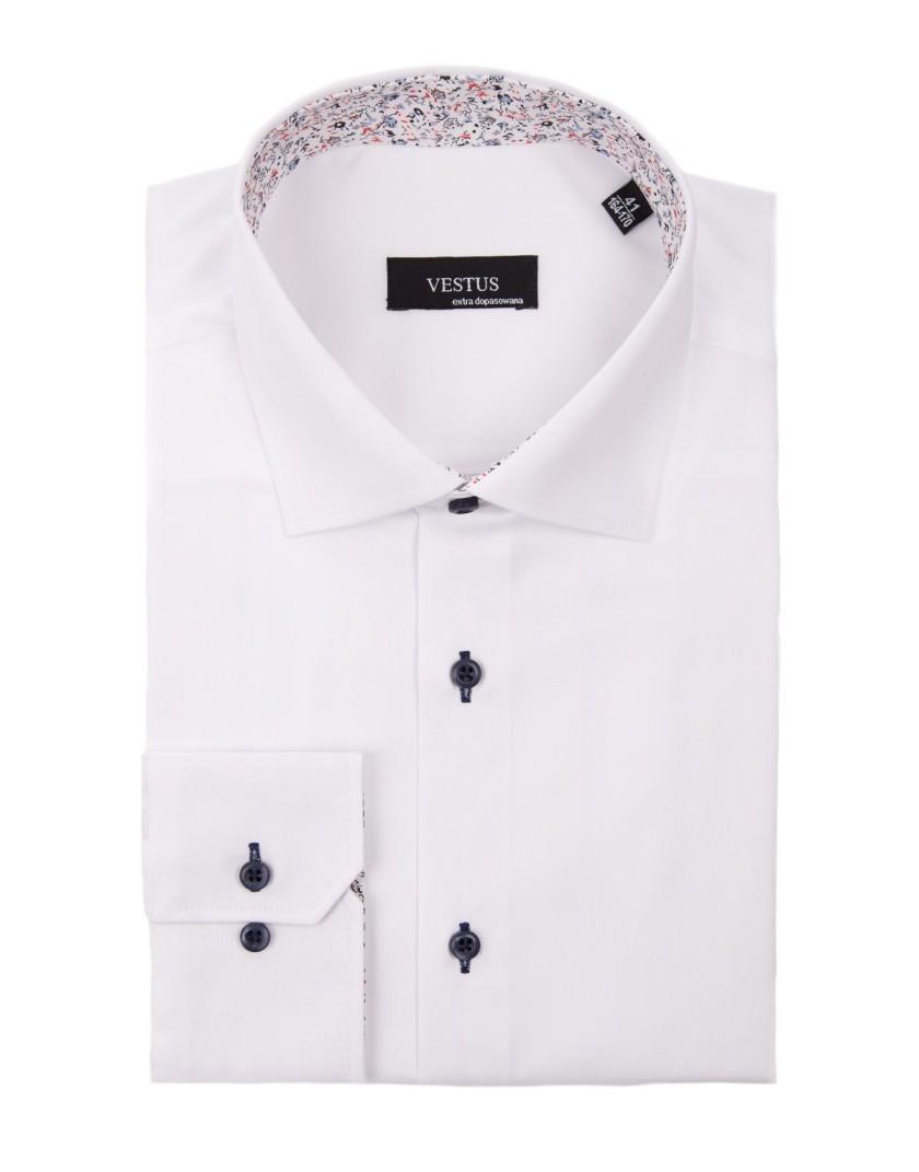 Biała koszula z kwiatowym kontrastem KE2069