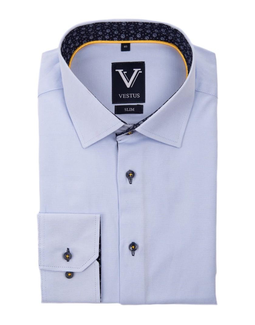 Błękitna koszula z kontrastem KR1028