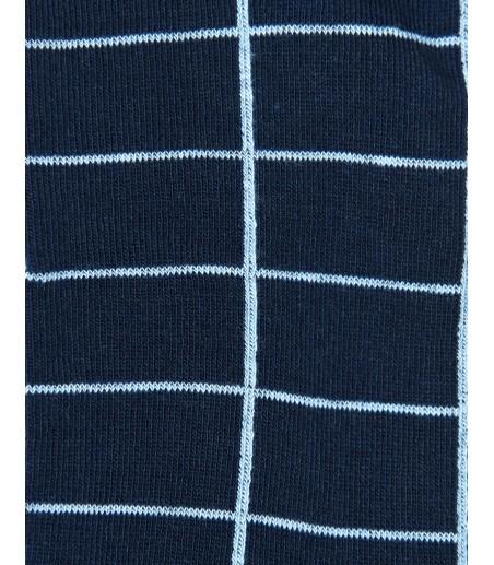 Granatowe skarpety męskie w niebieską kratę BW1174