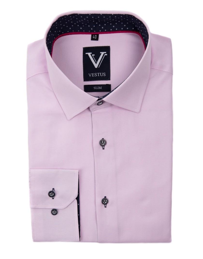 Różowa koszula z kontrastem KR1031