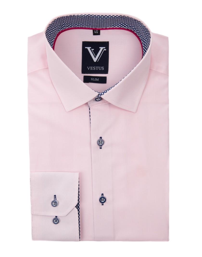 Różowa koszula z kontrastem KR1032