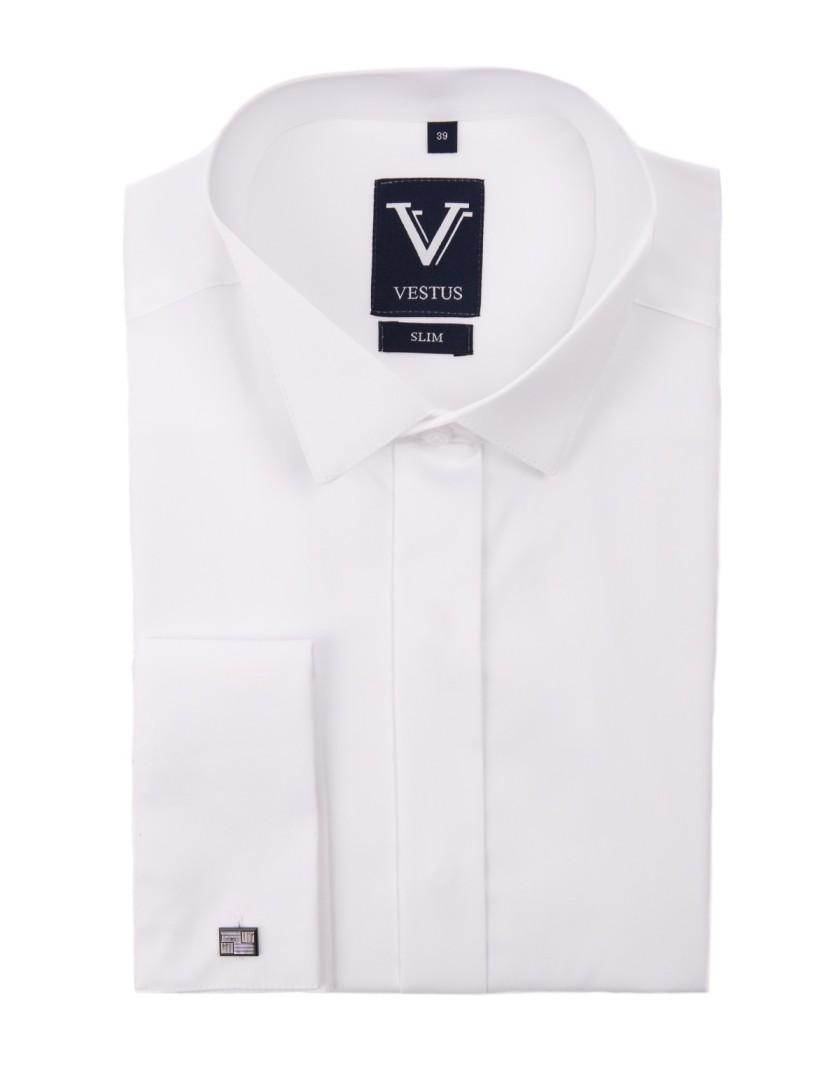 Biała koszula na spinki z kołnierzem do muchy KR1046