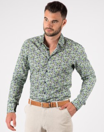 Koszula męska zielona we wzór KR1091