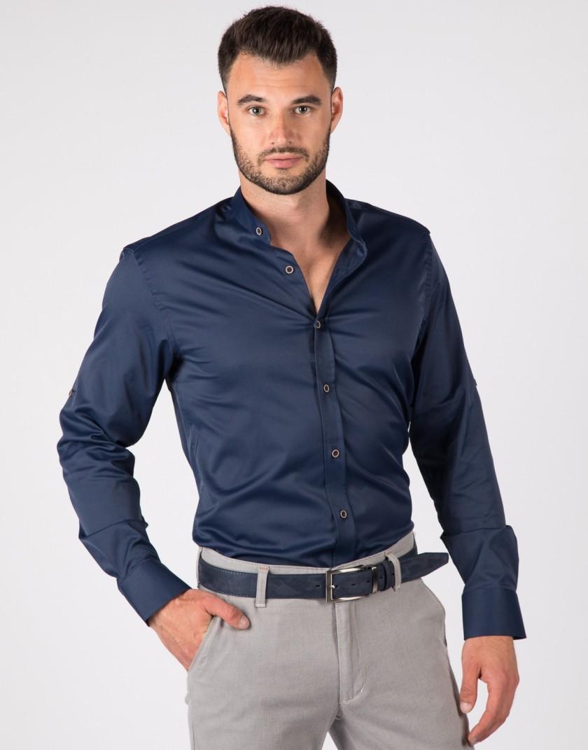 Granatowa koszula męska na stójkę z brązowymi guzikami KT4075