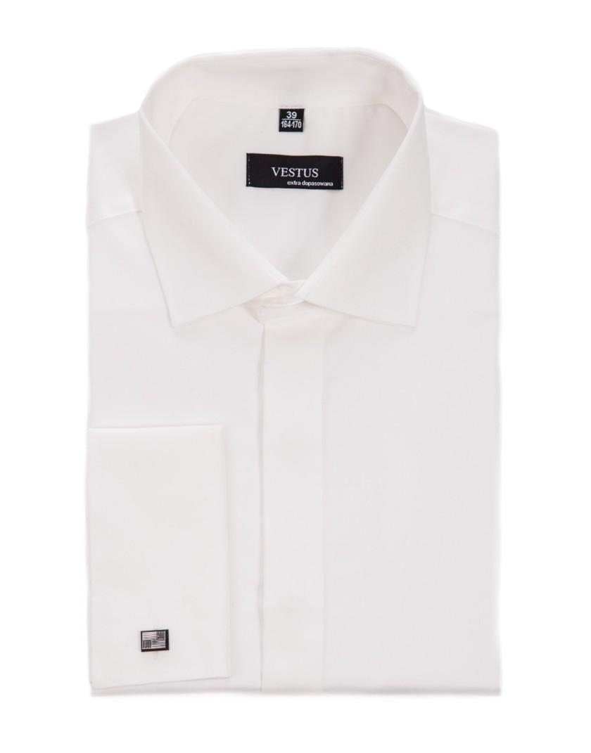 Koszula z krytą plisą na spinki w kolorze ecru KR1051
