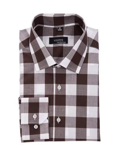 Brązowa koszula w kratę KR1053
