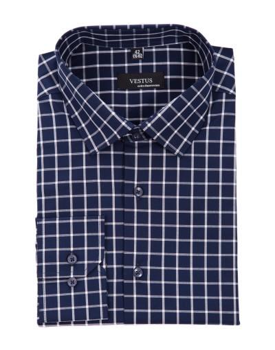 Granatowa koszula w kratę KR1054