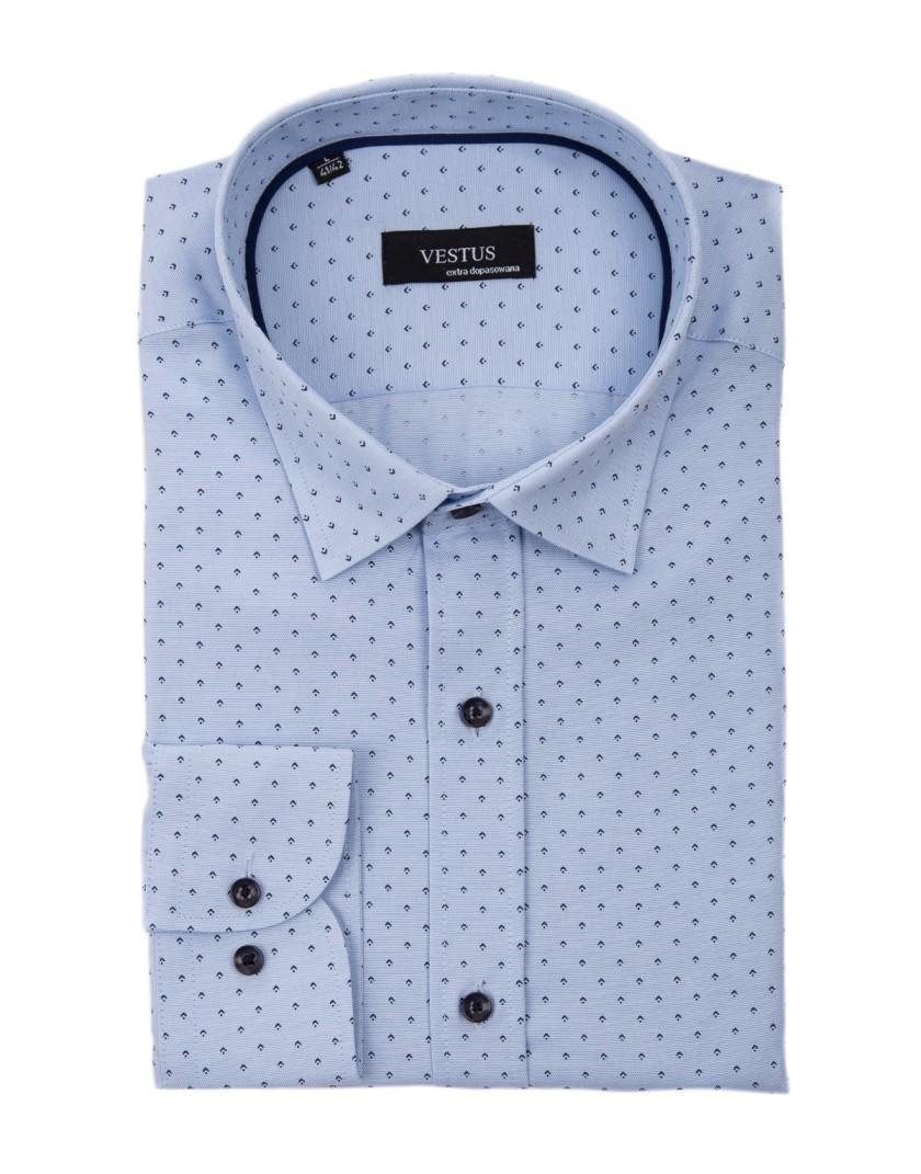 Niebieska koszula męska z nadrukiem KT4037