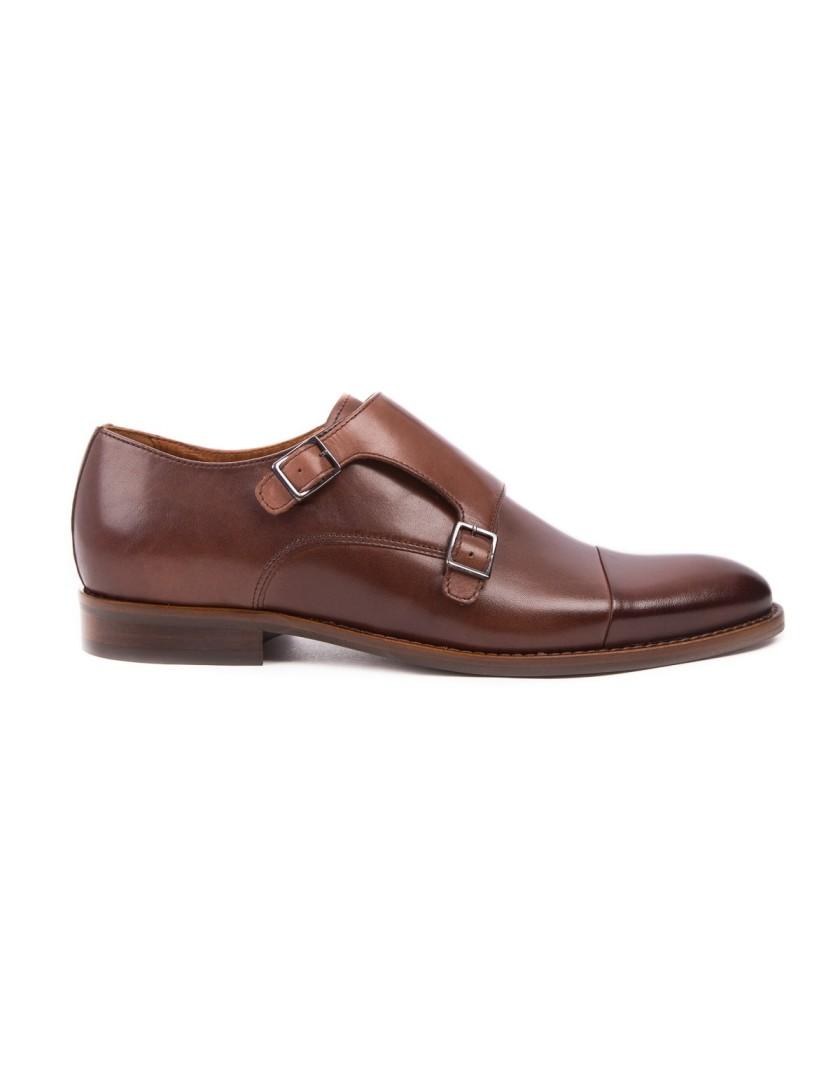 Brązowe buty męskie ze skóry OD3833
