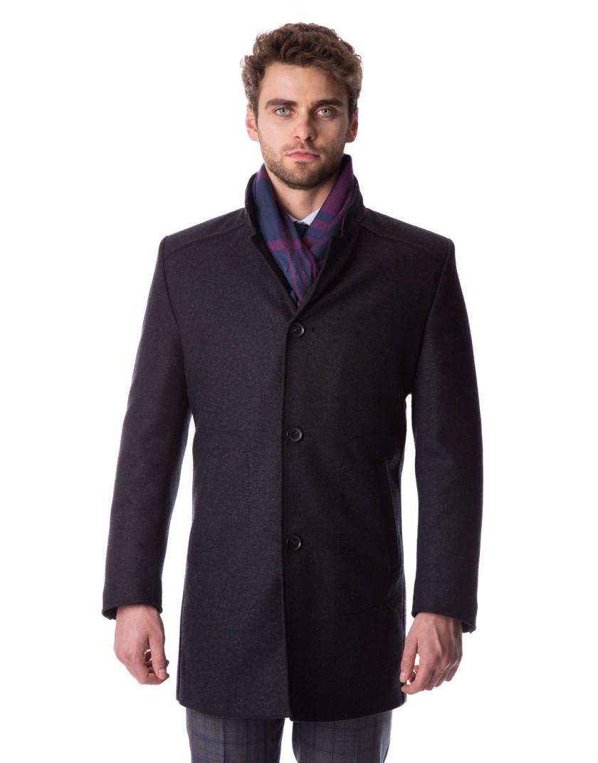 Czarny płaszcz w jodełkę Adam ZK0131