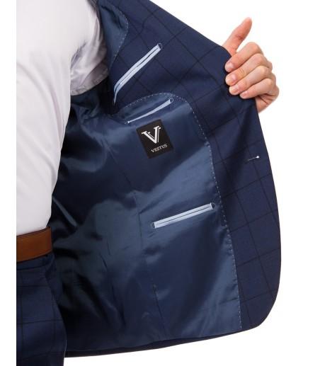 Granatowy garnitur w kratę GV1057