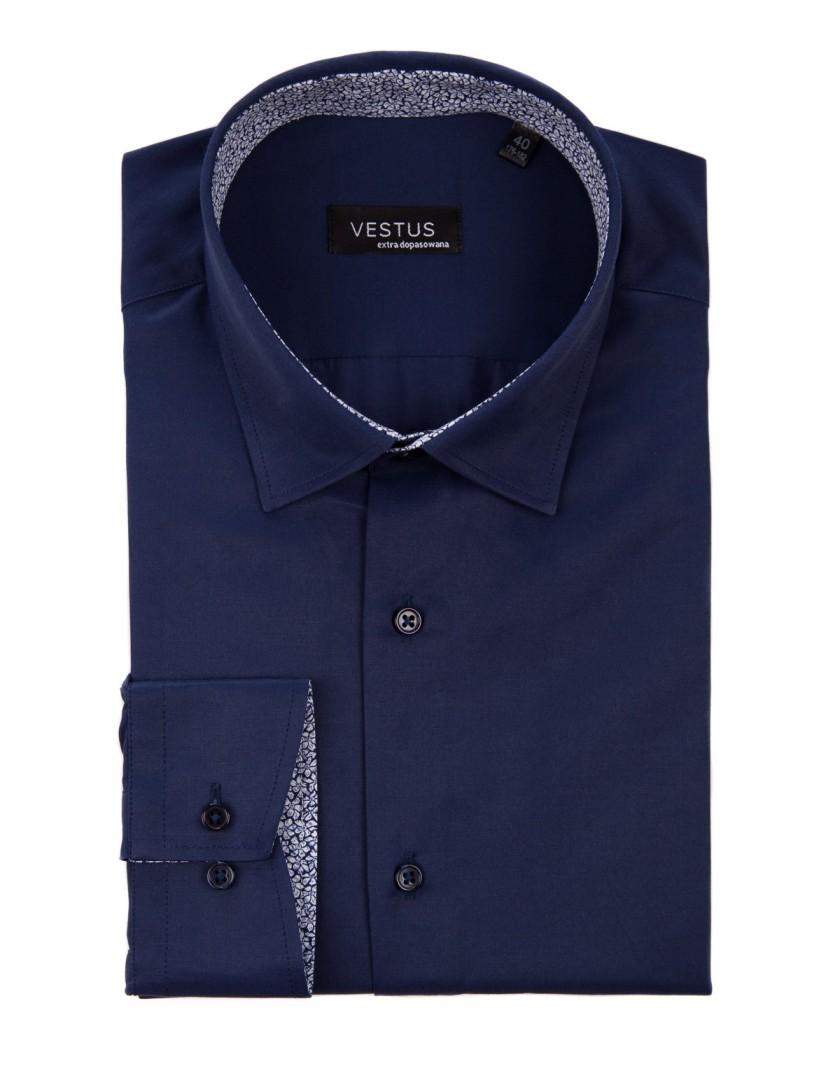 Granatowa koszula z kontrastem KT4043