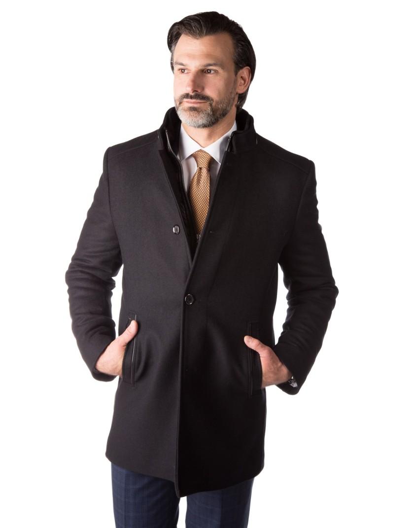 Klasyczny czarny płaszcz Miłosz ZS0123