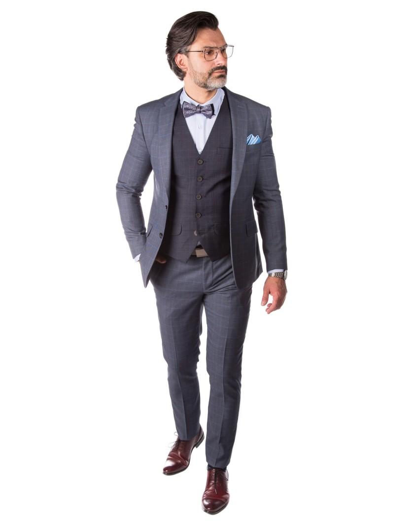 Szary garnitur w kratę GV1055