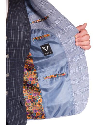 Błękitny garnitur w kratę GT8007