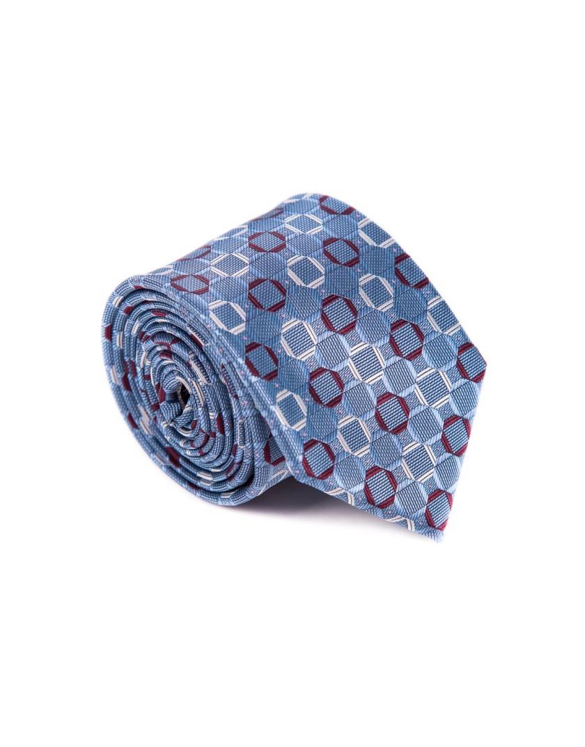Krawat niebieski w geometryczne wzory