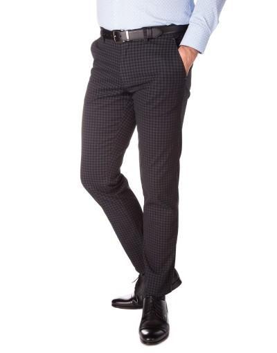 Grafitowe spodnie męskie w drobną kratkę SS0115
