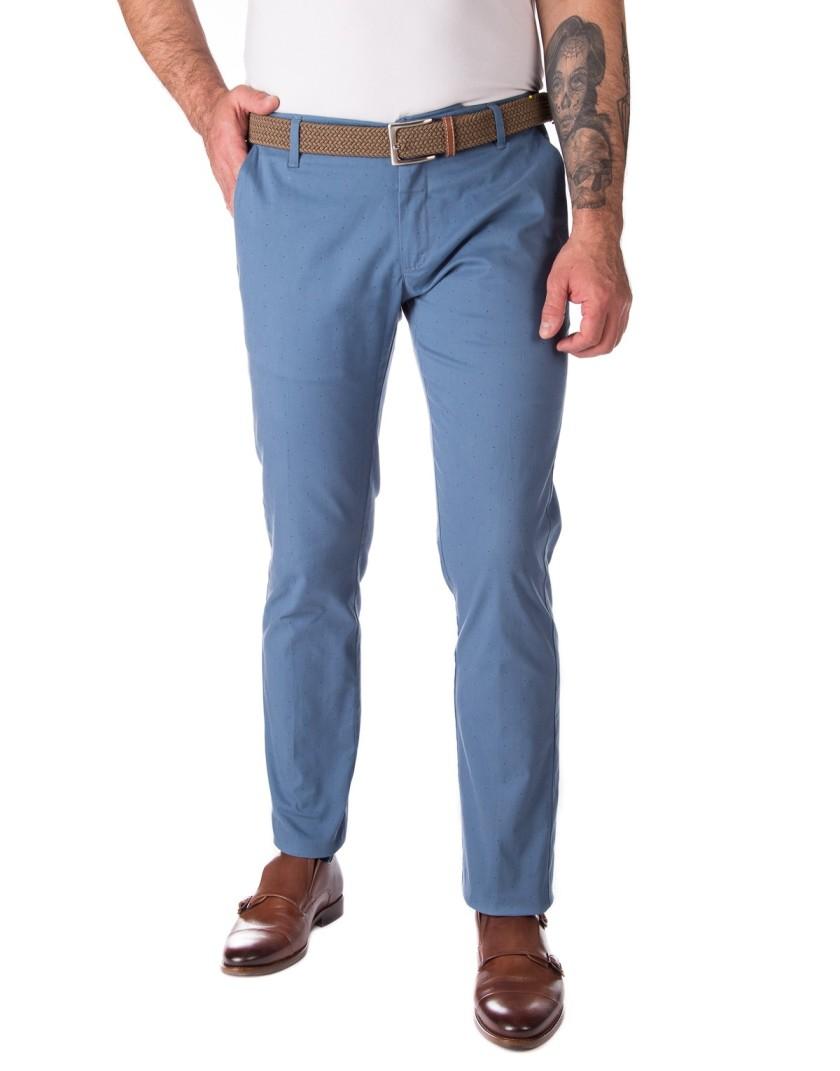 Niebieskie spodnie chino z drobnymi kropkami SV0098