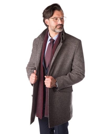 Szary płaszcz w mikrowzór Bonifacy ZK0126