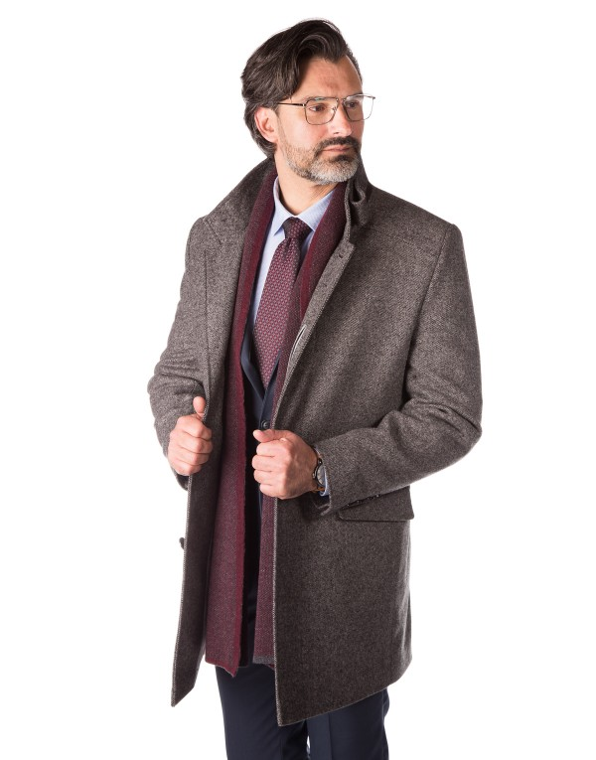 Szary płaszcz w mikrowzór  Remigiusz ZK0126