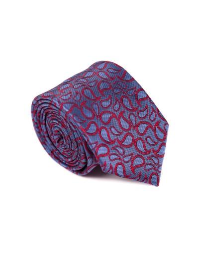 Krawat błękitny w czerwone wzory