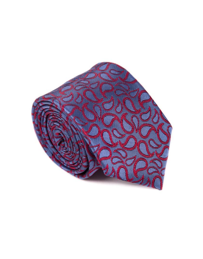 Błękitny krawat w czerwone wzory