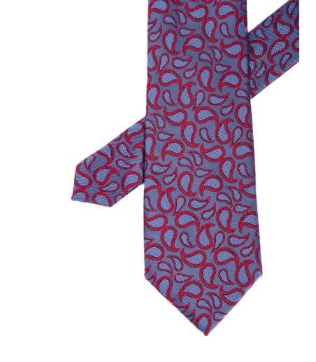 Krawat męski błękitny w czerwone wzory
