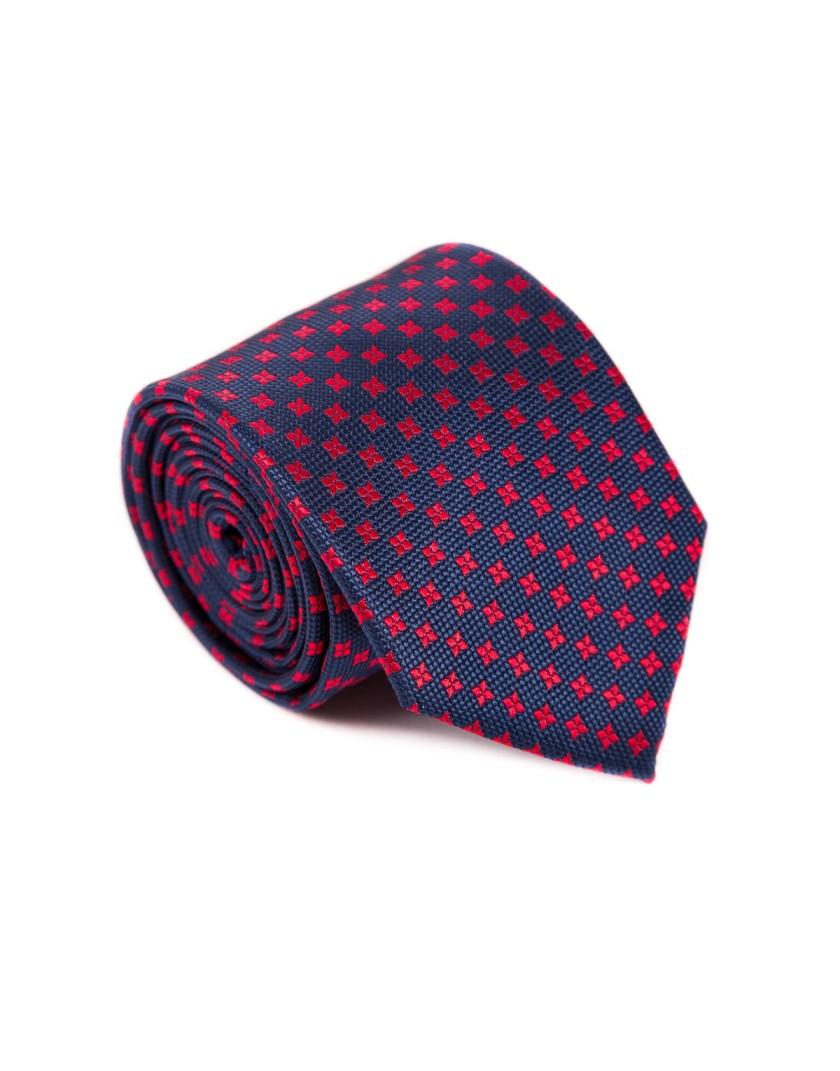 Granatowy krawat z kwiatowym wzorem