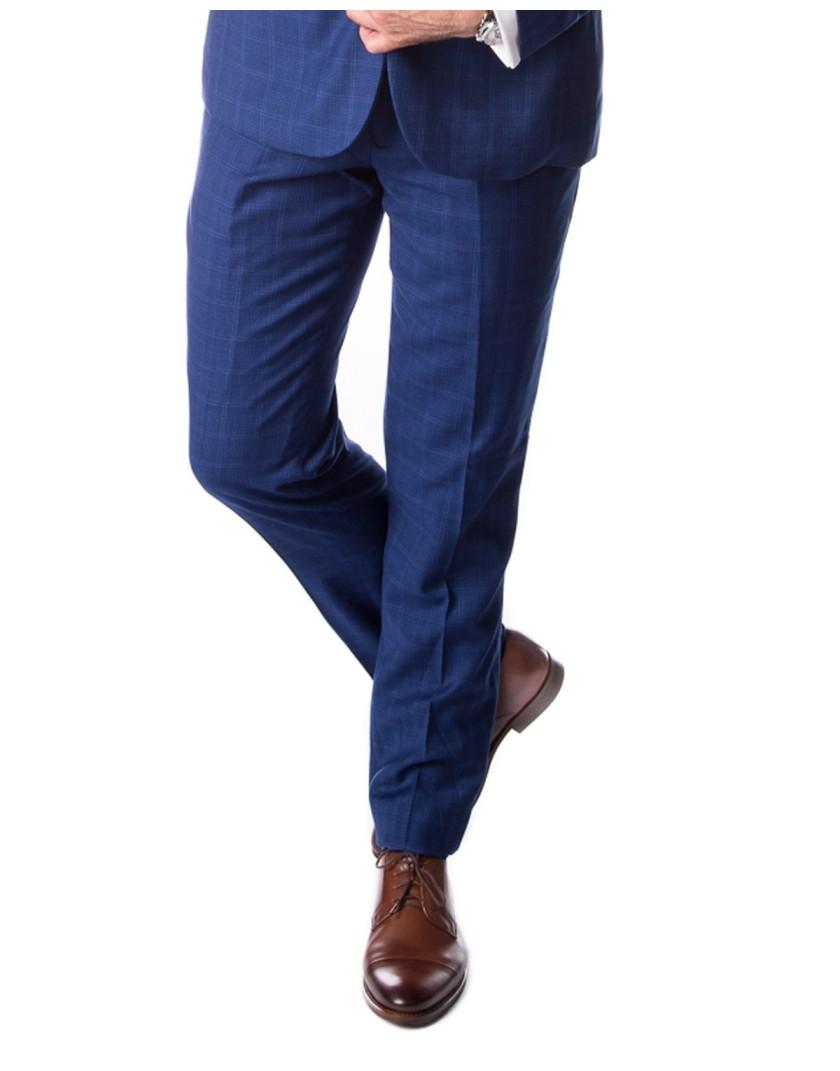 Niebieski garnitur w kratę SM8011 - spodnie