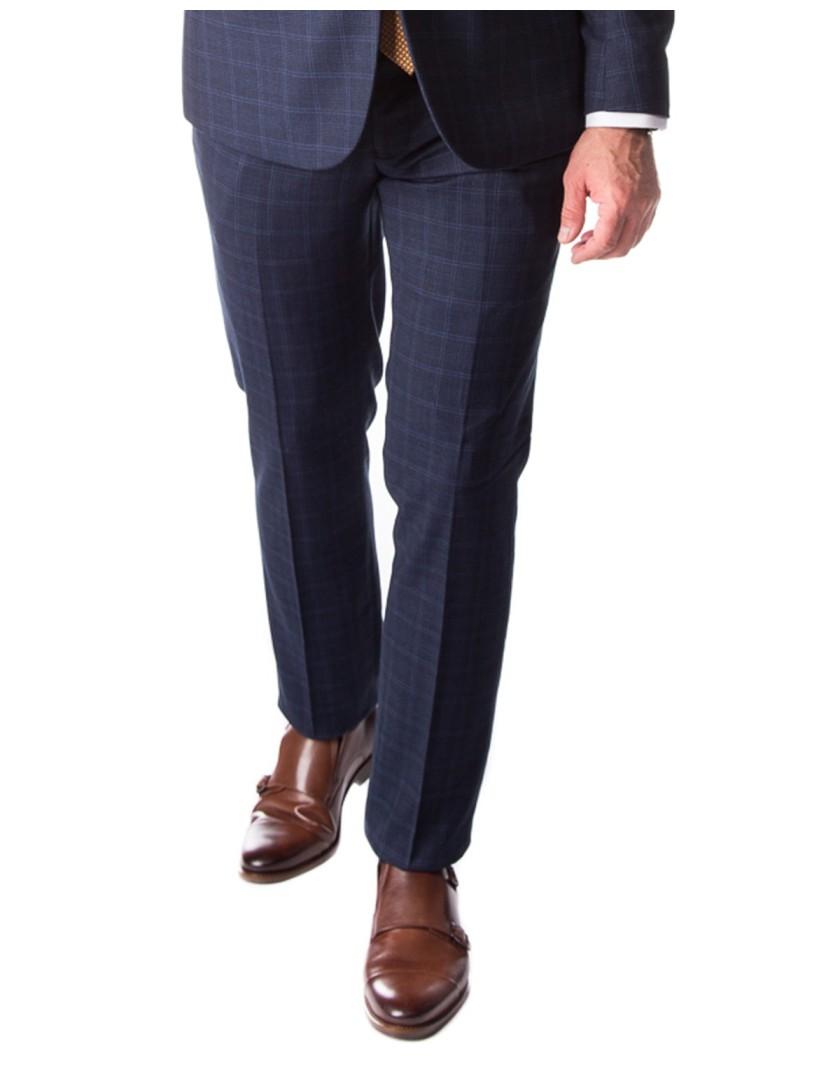 Granatowy garnitur w kratę SM8010 - spodnie
