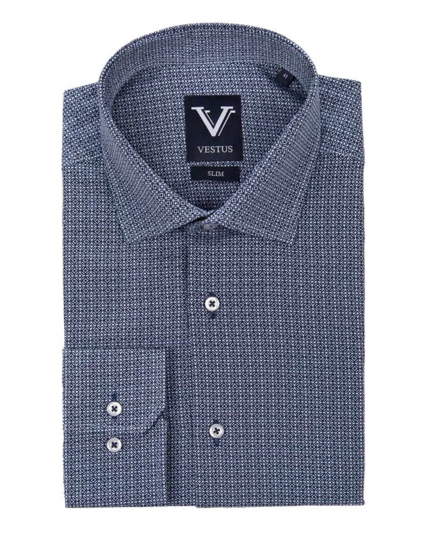 Niebieska koszula w geometryczny wzór KE2031